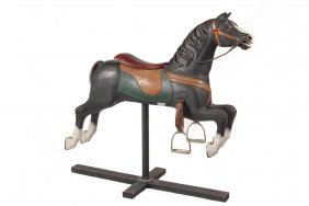 Carousel Horse - 19th C. Carved And Painted Wood Horse,