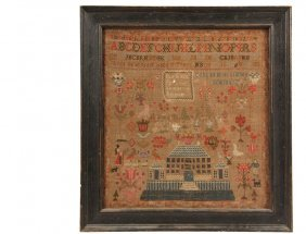 """Early 19th C Framed Sampler - """"done At Miss Simson's"""