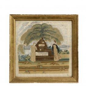 Framed Silkwork Memorial - Dated 1802 Maine Needlework