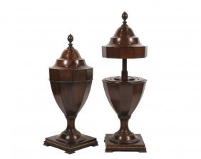 Pair Of English Knife Urns - 19th C. Georgian Style, In