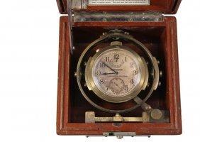 Wwii Boxed Marine Chronometer - Hamilton Mounted
