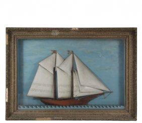 Folk Art Ship Diorama - Large Naive Diorama Of A