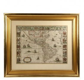 Rare Early Map Of Americas With Later Notation -