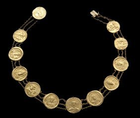Byzantine Coin Necklace - A Rare Group Of (12) Solid