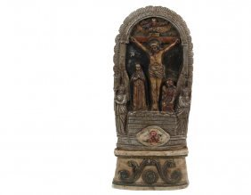 Early Carved Alabaster Religious Altar Piece -