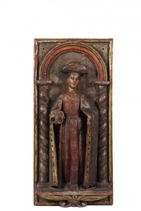 Spanish Or Spanish Colonial Santos Panel - Carved Wood