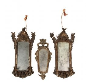 Pair Of Sconces And Central Looking Glass - 18th C.