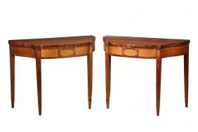 Pair Of New Hampshire Card Tables - Hepplewhite Stepped