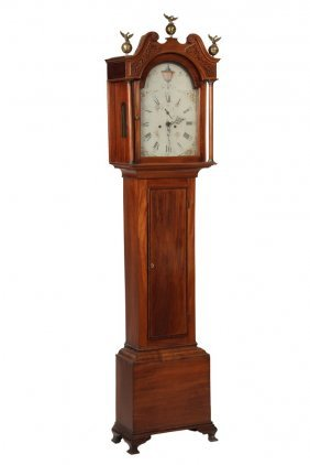 American Tall Case Clock - Federal Chippendale Period