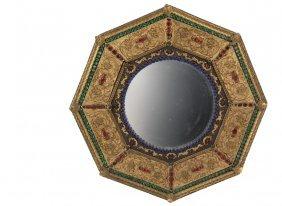 Unusual Chinese Export Mirror - Hexagonal Gilt Copper