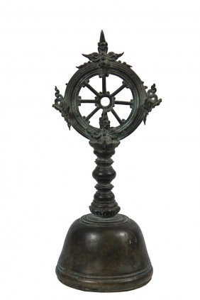 Asian Bronze Bell - Expertly Cast Bronze Hindu Temple