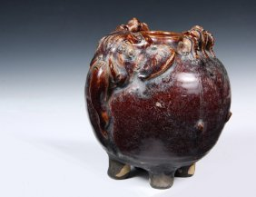 Ancient Asian Pottery - Very Rare Early Brown Glazed