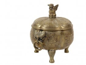 Chinese Bronze Footed Bowl - Yellow Bronze Covered Bowl