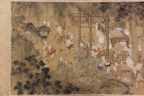 Chinese Scroll - Early Painting On Silk, Horizontal