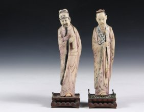 Pair Of Chinese Cabinet Figures - 19th C. Figures Of