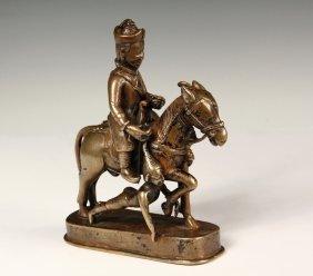Rare Tibetan Bronze Figure - 17th C. Mongolian Warrior