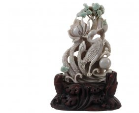 Chinese Jade Sculpture - Kingfisher Among Flowers, In