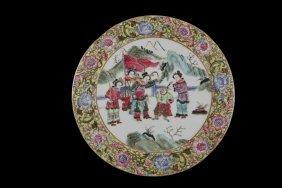 Chinese Porcelain Plaque - Round Plaque Depicting Four