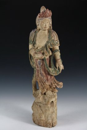 An Early Chinese Carved Wood Figure - 17th C. Or