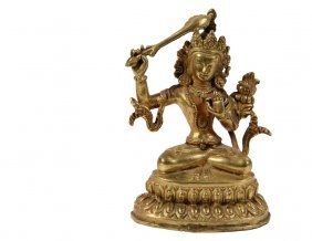 Nepalese Gilt Bronze Buddhist Figure - Small Seated