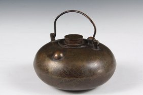 Chinese Bronze Handwarmer - Low Ovoid Vessel In Bronze