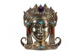 Italian Jeweled Gilt Silver Thai Head - Bodhisattva