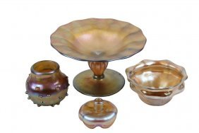 (4) Misc Tiffany Style Glass Bowls - Favrille