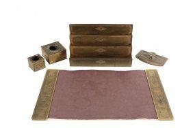 (5 Pc) Tiffany Desk Set - Gilt Bronze Diamond Pattern