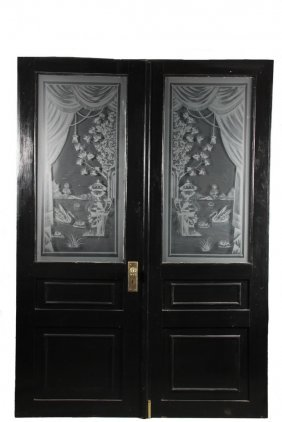 Pair Of Doors With Etched Glass - Paneled Wooden Doors