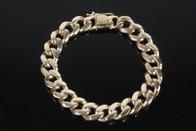 Gent's Bracelet - Vintage 14k Gold Curb Link Bracelet;