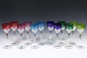 Goblets - Set Of (12) Saint-louis Crystal Cut To Clear