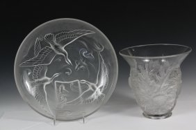 (2 Pcs) French Art Deco Glass - Vase With Frosted