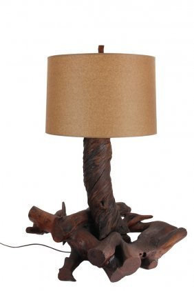 Large Adirondack Table Lamp - An Assemblage From