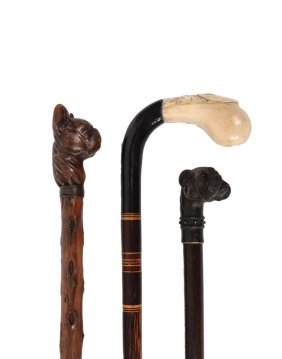 (3) Figural Walking Sticks - All 19th C., Including: