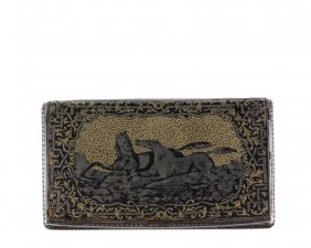 An Early French Niello Tobacco Box - An Oblong Silver,