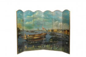 Six-panel Painted Folding Screen - 19th C. View Of