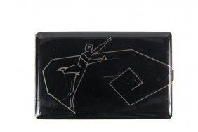 Art Deco Cigarette Case - Black Celluloid And Silver