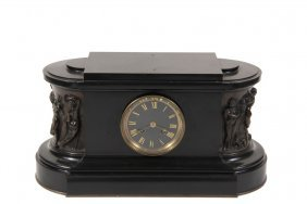 French Mantel Clock - Black Slate And Cast Bronze