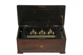 "Swiss Music Box - 8 Tune 15"" Cylinder Music Box With"