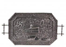 A Very Fine And Important Indian Silver Tray - Sindh