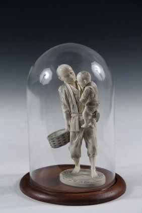 Japanese Cabinet Figure With Glass Dome - 19th C. Ivory