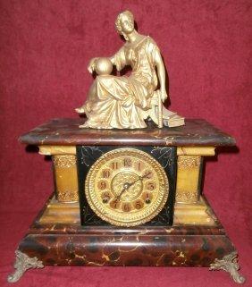Gilbert Faux Marble Mantle Clock W/woman Topper