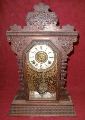 Ingraham Gingerbread-style Mantle Clock Garnet