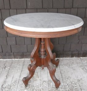 Victorian Walnut Marble Top Lamp Table