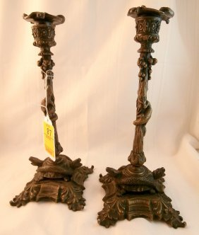 Pair Of Ornate Candlesticks With Turtles & More