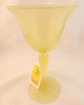 Vaseline Glass Iridized Stretched Goblet