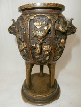Oriental Bronze Incense Burner W/dogs & Coloring