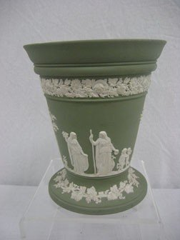 Wedgwood Green Jasperware Flare Top Vase.