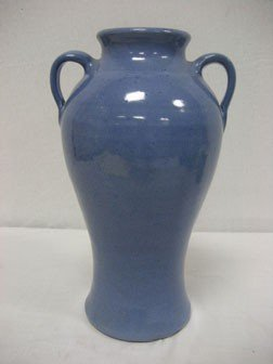 "12 1/2"" Unmarked Blue 2-handle Waco Pottery Vase."
