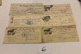 (6) Ohio Checks - 1906 - The Ault Wooden & Willow Wa